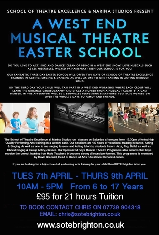 West End Musical Theatre Easter School  Kids Drama in Brighton on